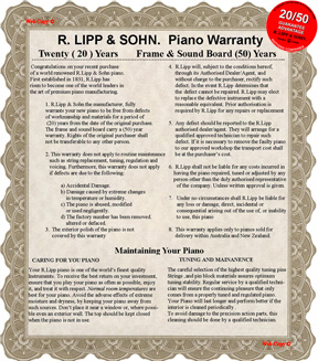 CLICK for FULL VIEW Piano Warranty